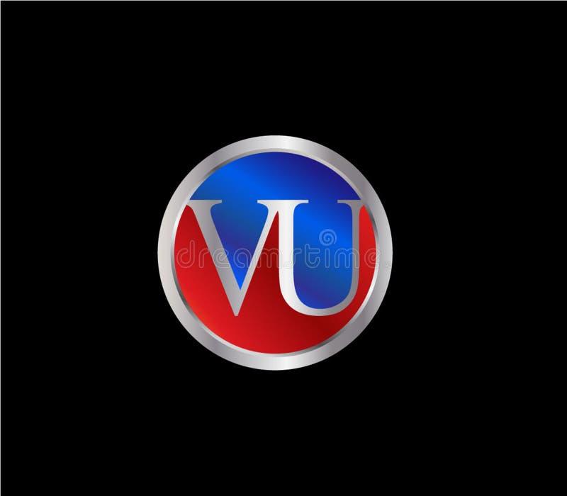 Forma Logo Design posterior color plata azul rojo del c?rculo de VUInitial libre illustration