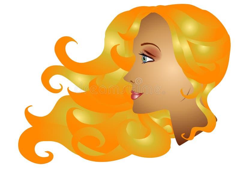 Forma longa do cabelo da mulher loura ilustração royalty free