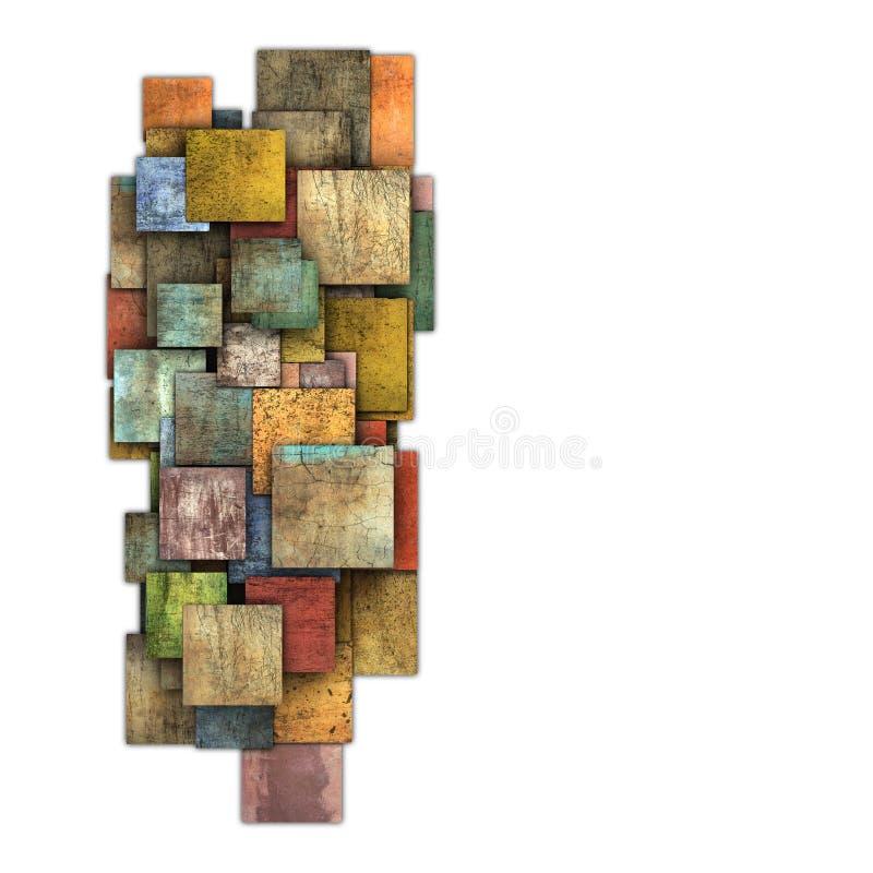Forma múltipla fragmentada do teste padrão do grunge da telha do quadrado da cor ilustração stock