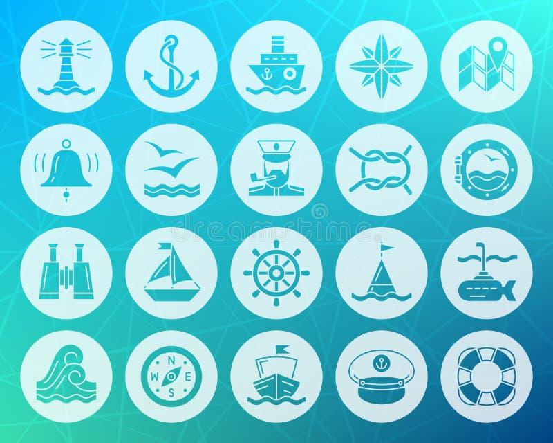 Forma marinha grupo liso cinzelado do vetor dos ícones ilustração do vetor