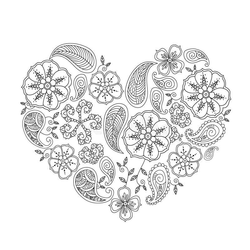 Forma monocromática do coração com as flores e as folhas do mehendi isoladas ilustração do vetor