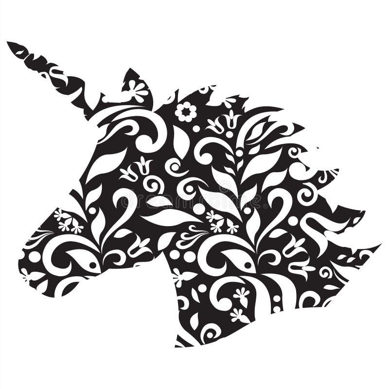 Forma monocromática, silhueta do unicórnio mágico no preto e branco ilustração royalty free