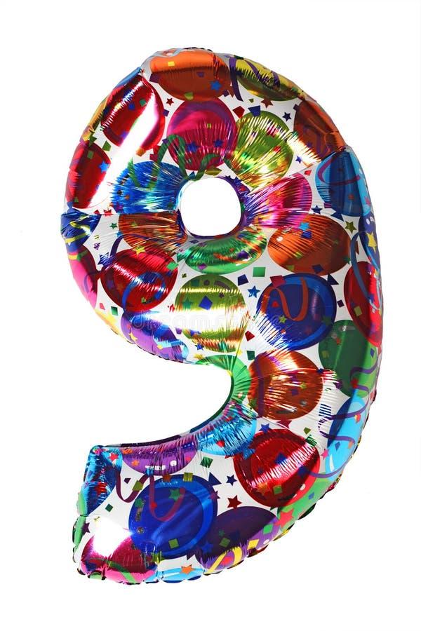 Forma número nove do balão para a celebridade do aniversário foto de stock