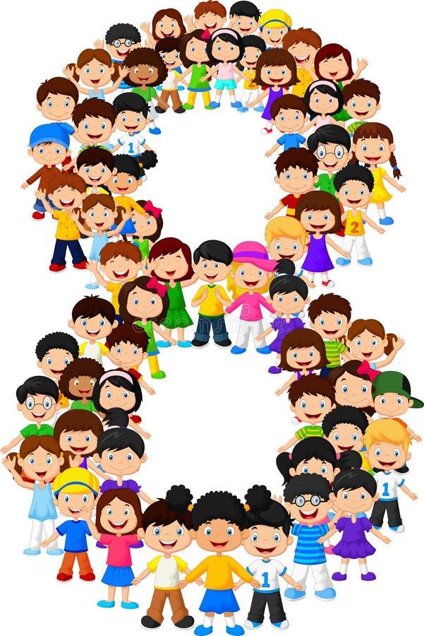 Forma número ocho de los niños libre illustration