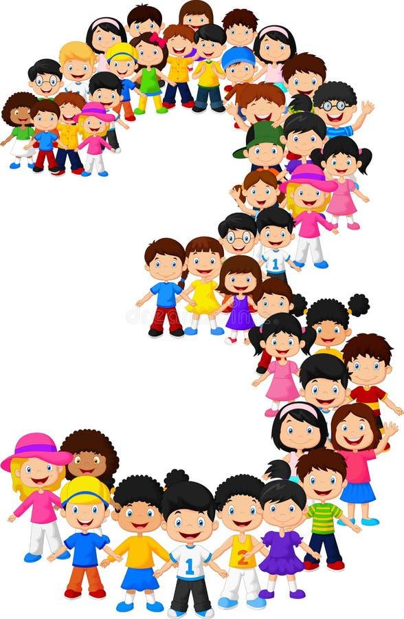 Forma número tres de los niños libre illustration