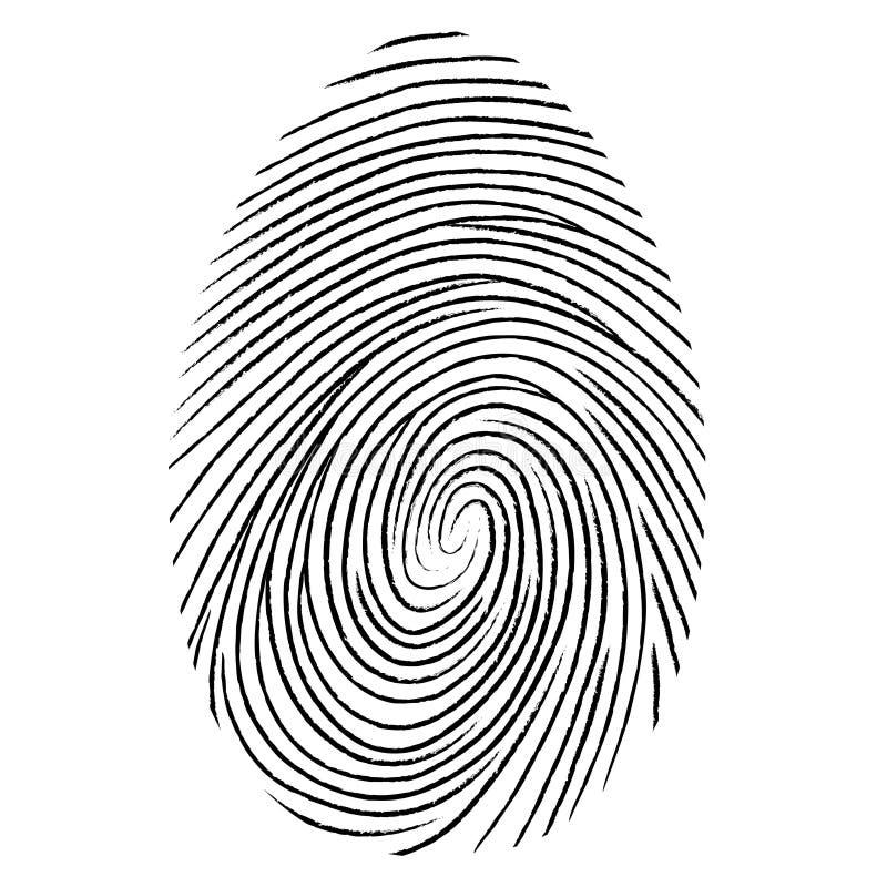 Forma negra de la huella dactilar asegure la identificación Ilustración del vector ilustración del vector