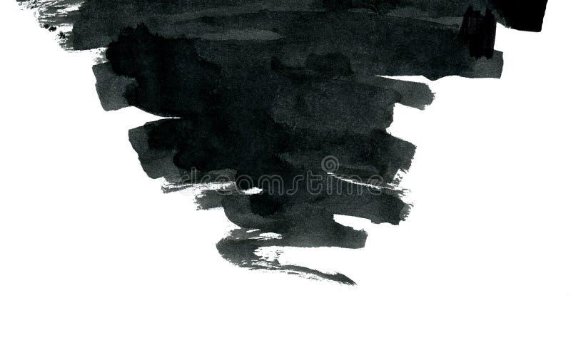 Forma negra del extracto de la tinta aislada en blanco ilustración del vector