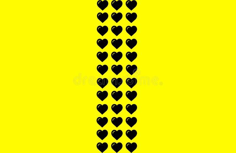 Forma nera del cuore su fondo giallo Cuori Dot Design Può essere usato per scopo dell'illustrazione, il fondo, il sito Web, comme illustrazione vettoriale