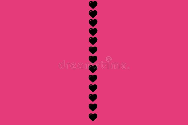 Forma nera del cuore su fondo rosa Cuori Dot Design Può essere usato per gli articoli, la stampa, lo scopo dell'illustrazione, fo illustrazione di stock
