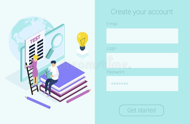 Forma para los cursos de idiomas, aprendizaje electrónico del registro, libre illustration
