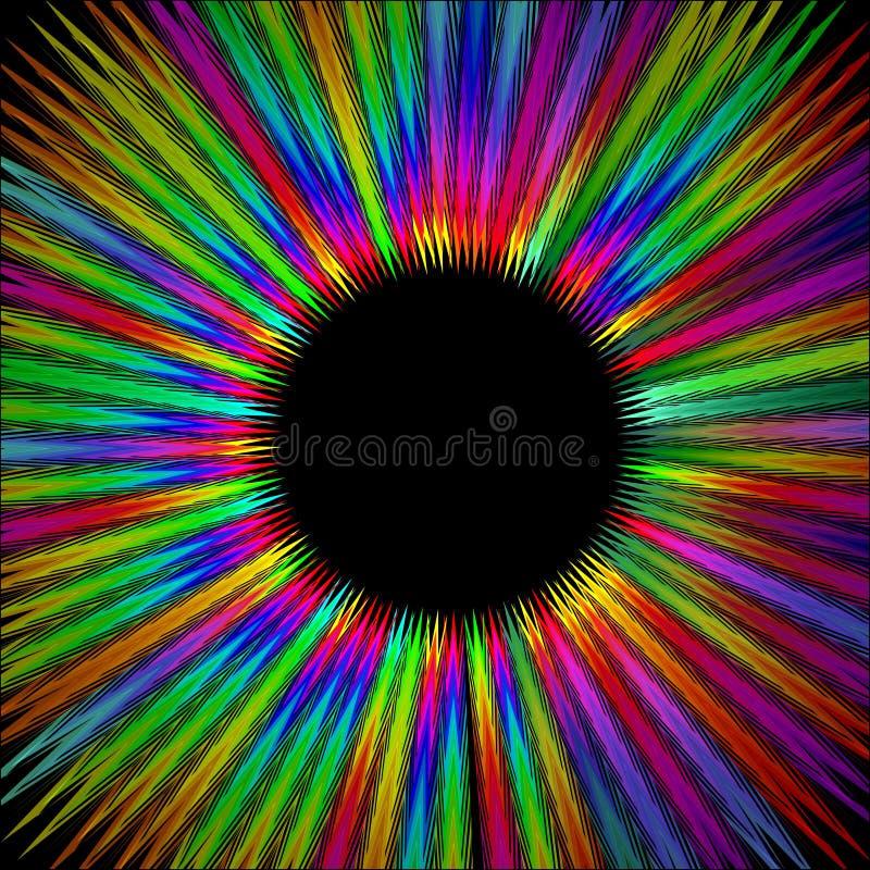 Forma peluda del círculo del arco iris con área negra en el centro, rayos psicodélicos arenosos en aureola de la energía de la vi ilustración del vector