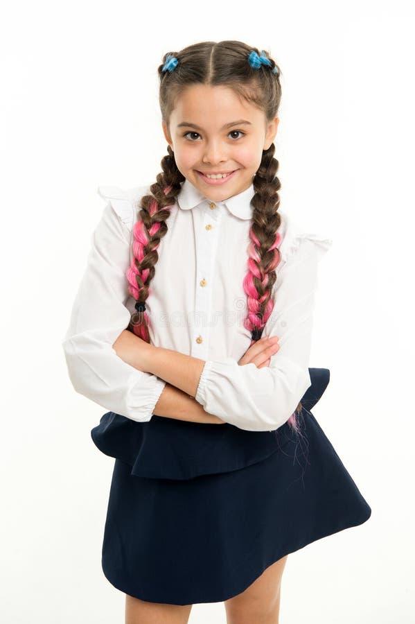 Forma pequena da criança criança pequena da menina com cabelo perfeito Felicidade da infância Menina feliz Beleza e fôrma fotos de stock