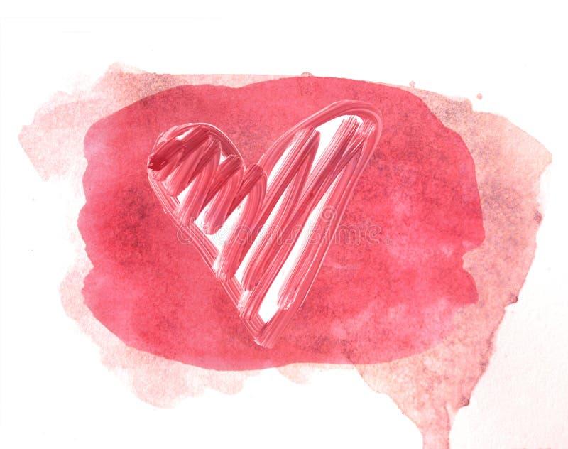 Forma pintada acuarela rosada del corazón Fondo rosado fotografía de archivo