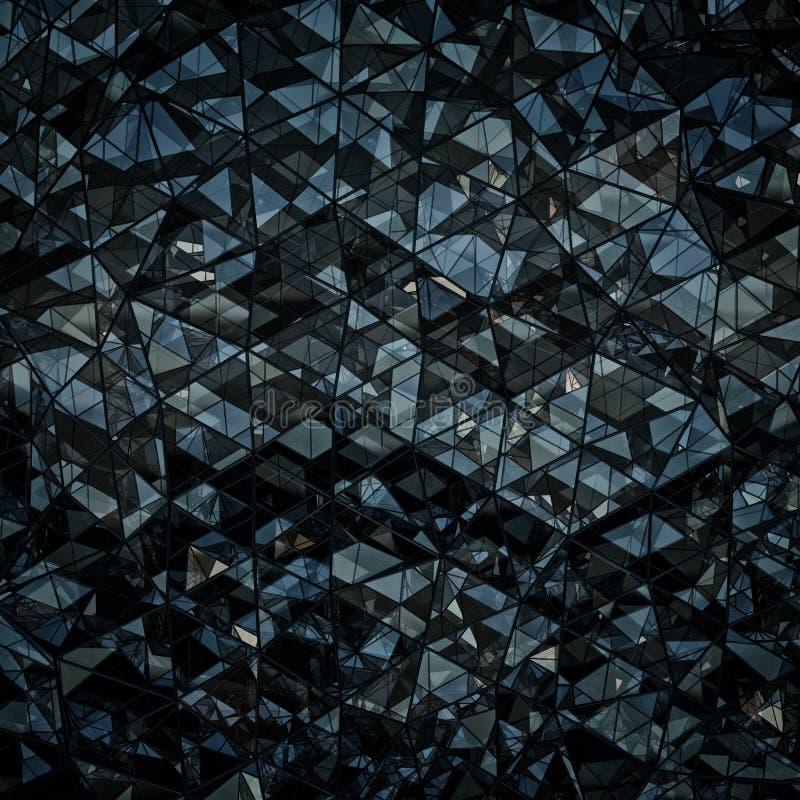 Forma poligonal de la representación azul marino y negra del vidrio 3D libre illustration