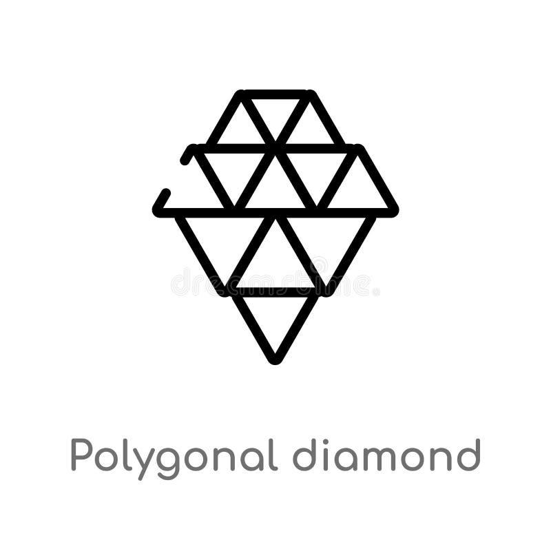 forma poligonal del diamante del esquema del pequeño icono del vector de los triángulos l?nea simple negra aislada ejemplo del el ilustración del vector