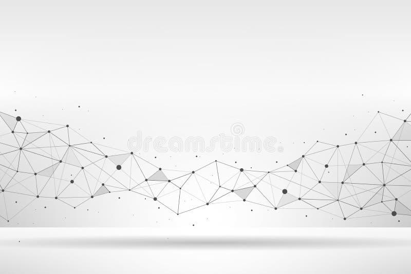 Forma poligonal geométrica abstrata com pontos e linhas de conexão no fundo branco abstraia o fundo Ilustração do vetor ilustração do vetor