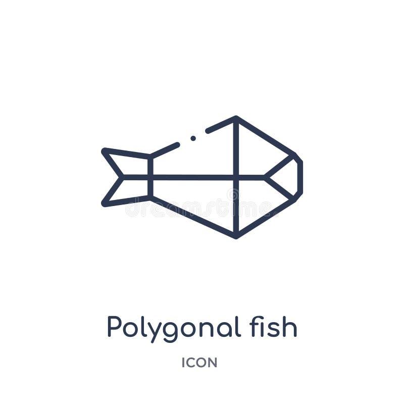 Forma poligonal linear de los pescados del pequeño icono de los triángulos de la colección del esquema de la geometría Línea fina stock de ilustración