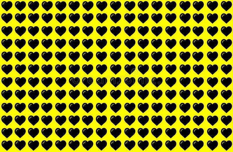 Forma preta do coração no fundo amarelo Corações Dot Design Pode ser usado para a finalidade da ilustração, fundo, Web site, negó ilustração do vetor