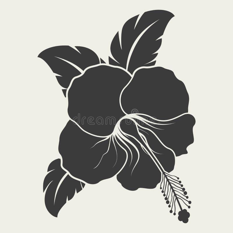 Forma preto e branco da flor do hibiscus ilustração do vetor
