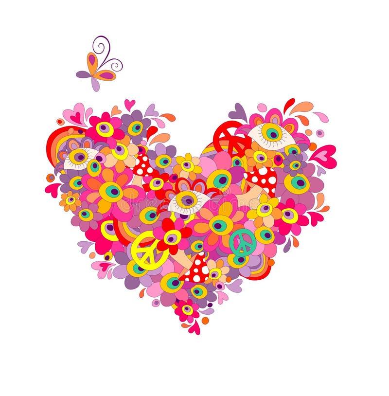 Forma psicadélico do coração da hippie com as flores abstratas coloridas, o símbolo de paz, os olhos e o agaric de mosca isolado  ilustração do vetor