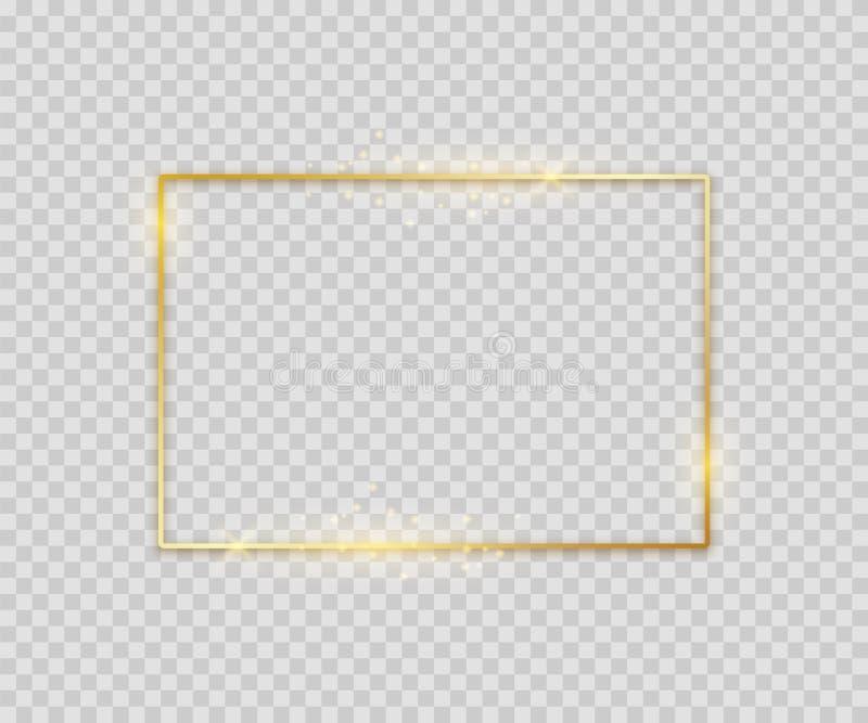 Forma quadrada dourada Molde gráfico da beira luxuosa brilhante para o inseto do cartaz da bandeira Quadro de incandescência do ilustração stock