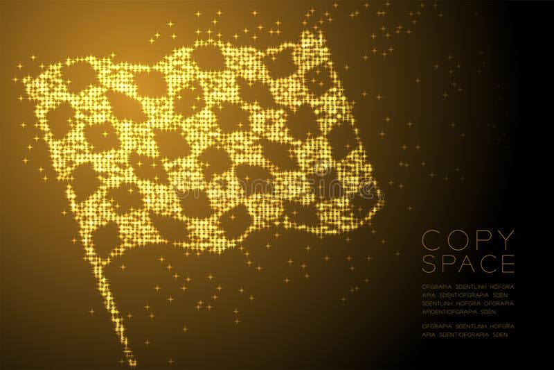 Forma a quadretti della bandiera del motivo a stelle brillante astratto, illustrazione di colore dell'oro di progettazione di mas illustrazione vettoriale