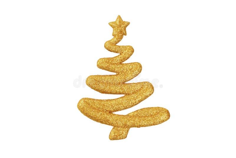 Forma que brilla de oro de un ornamento del árbol de navidad aislado encendido imagen de archivo libre de regalías