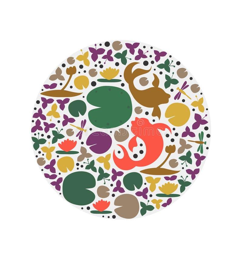 Forma redonda con los habitantes de la charca Pescados, carpa, pez de colores, lirios de agua, libélula Tarjeta decorativa del ve stock de ilustración