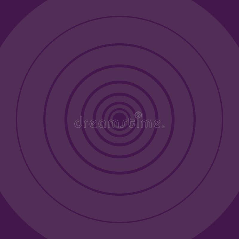 Forma redonda do teste padrão do círculo concêntrico em Violet Monochrome com profundidade e perspectiva Ideia criativa do fun ilustração royalty free