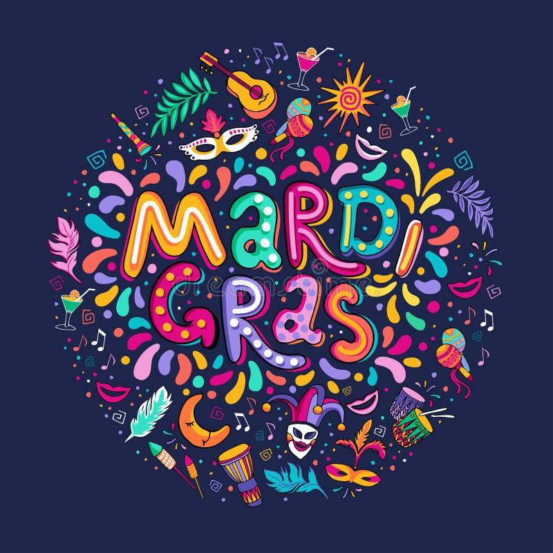 Forma redonda tirada mão da inscrição do texto de Mardi Gras Lettering do vetor Fogos de artifício coloridos dos confetes dos ele ilustração royalty free