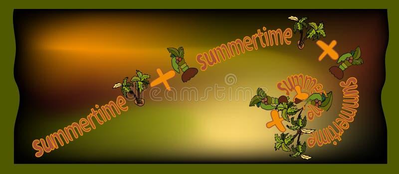 Forma retangular longa do inseto com as horas de verão da inscrição fotografia de stock royalty free