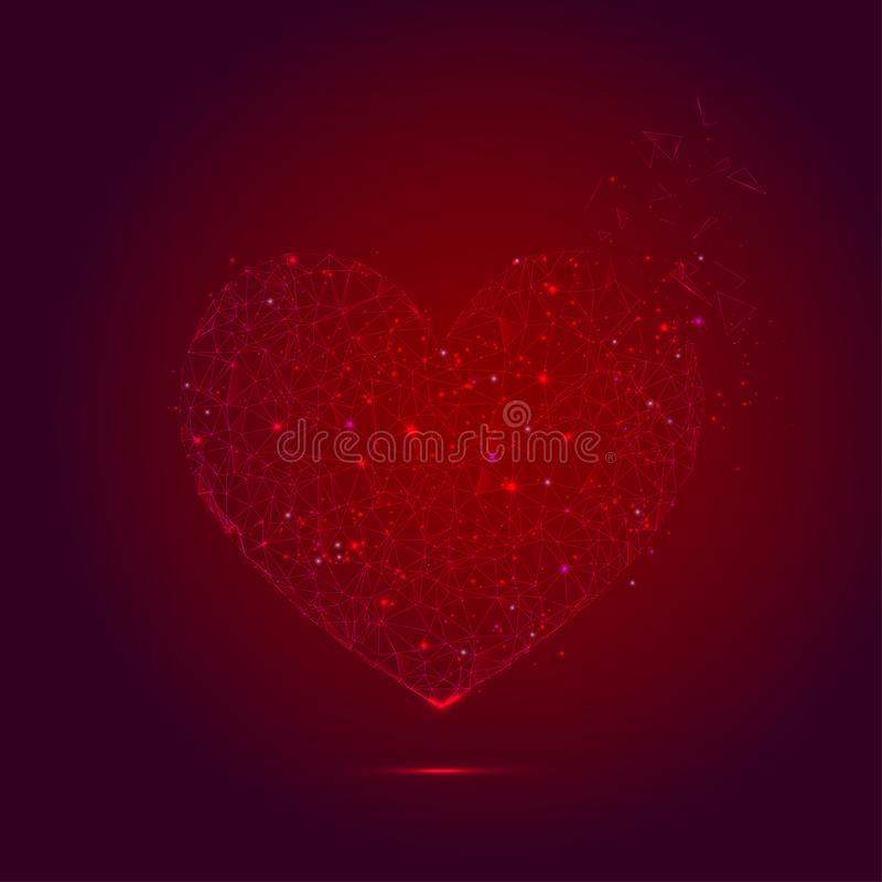 Forma roja del corazón de la migaja abstracta - arte poligonal de la malla del triángulo ilustración del vector