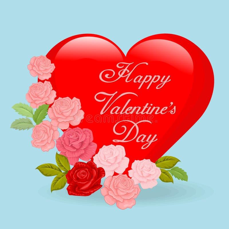 Forma roja grande del corazón con el diseño de tarjeta color de rosa del día de tarjeta del día de San Valentín stock de ilustración