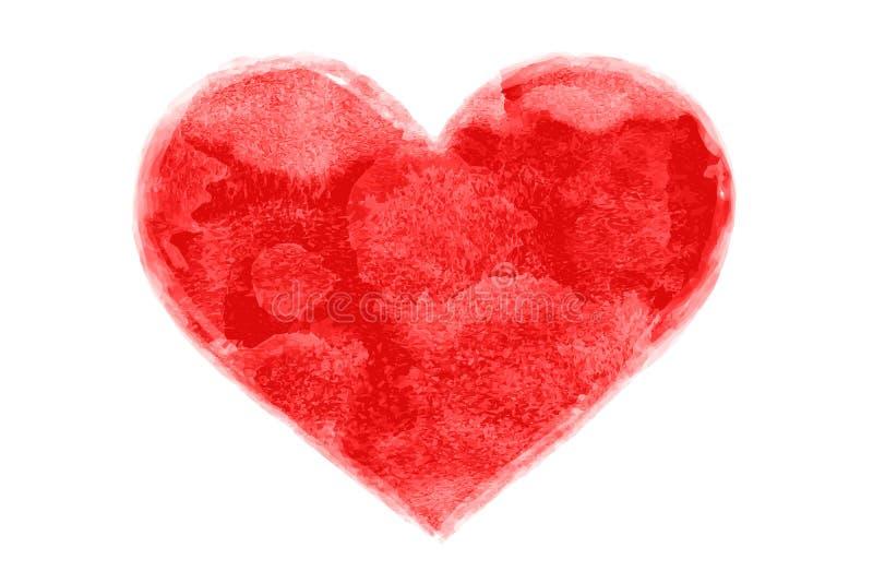 Forma roja pintada acuarela a mano del corazón ilustración del vector