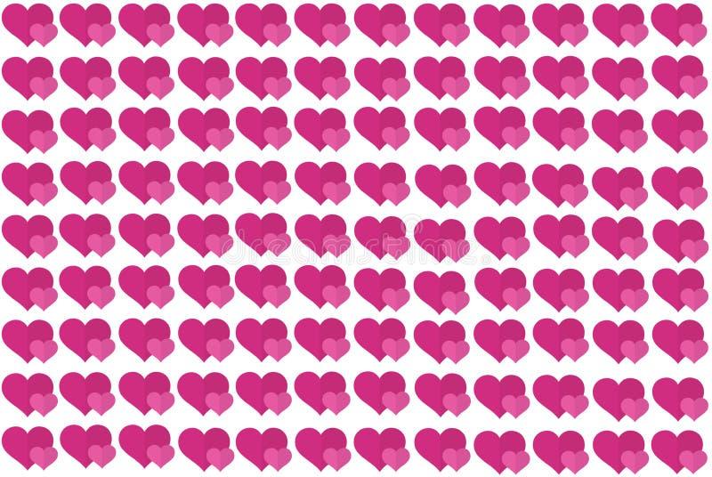 Forma rosa del cuore su fondo bianco Cuori Dot Design Pu? essere usato per gli articoli, la stampa, lo scopo dell'illustrazione,  illustrazione vettoriale