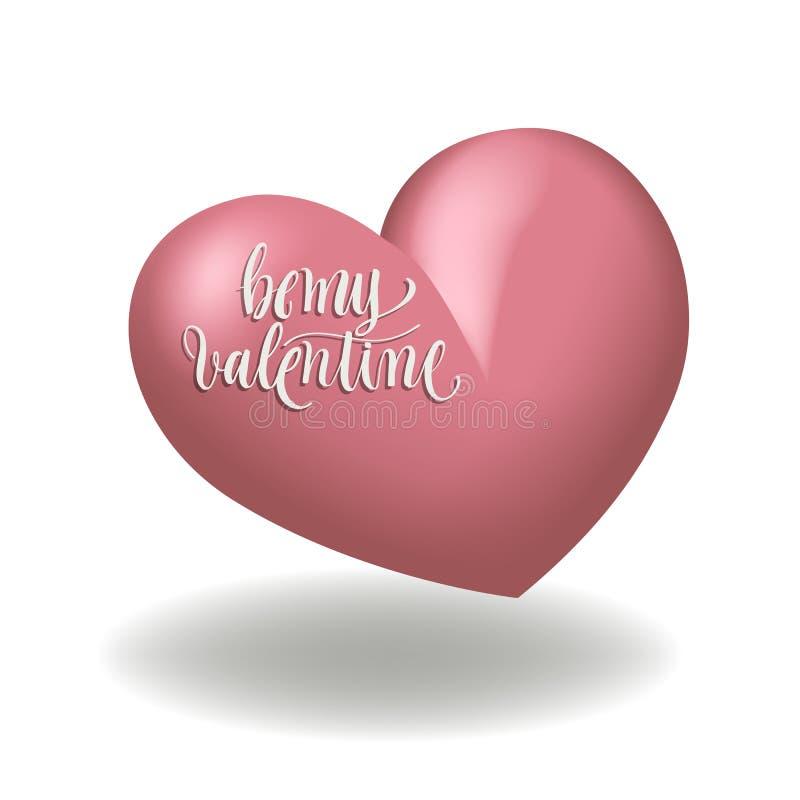 Forma rosada del corazón 3d para día de San Valentín con caligrafía stock de ilustración