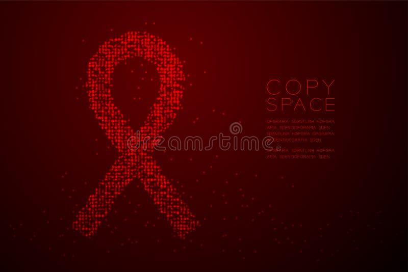 Forma rossa del nastro di Bokeh del cerchio del punto del pixel di HIV geometrico astratto del modello, illustrazione di colore d illustrazione vettoriale