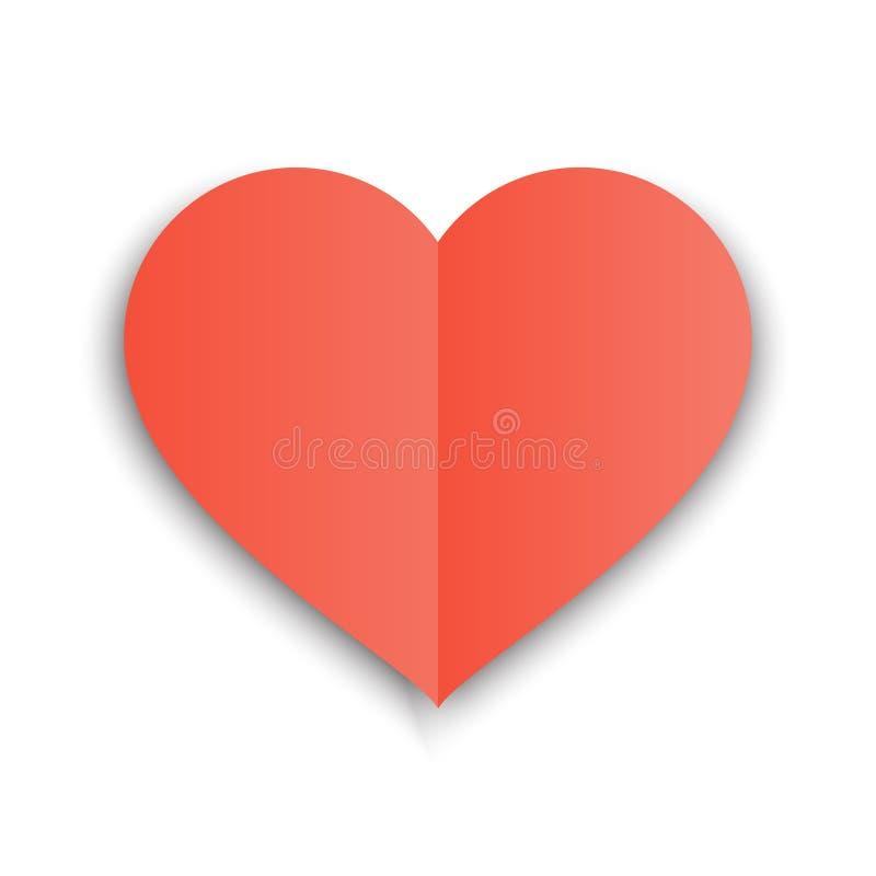Forma rossa della carta del cuore con il popolare e l'ombra Illustrazione di vettore di Valentine Day cartolina royalty illustrazione gratis