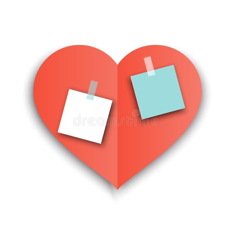 Forma rossa della carta del cuore con ombra con gli autoadesivi per il messaggio di amore Illustrazione di vettore di Valentine D illustrazione di stock