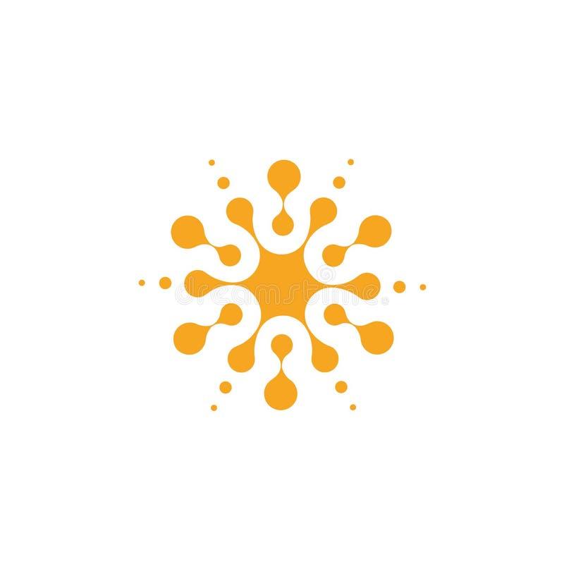 Forma rotonda astratta arancio dai cerchi, modello universale di logo Icona isolata, illustrazione di vettore su bianco illustrazione di stock