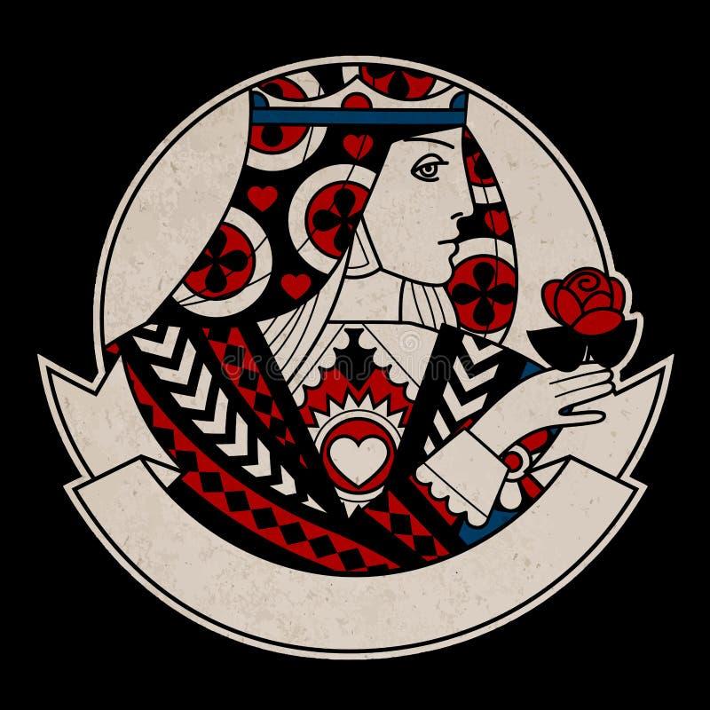 Forma rotonda con il fronte ed il nastro della regina per testo su cartone illustrazione di stock