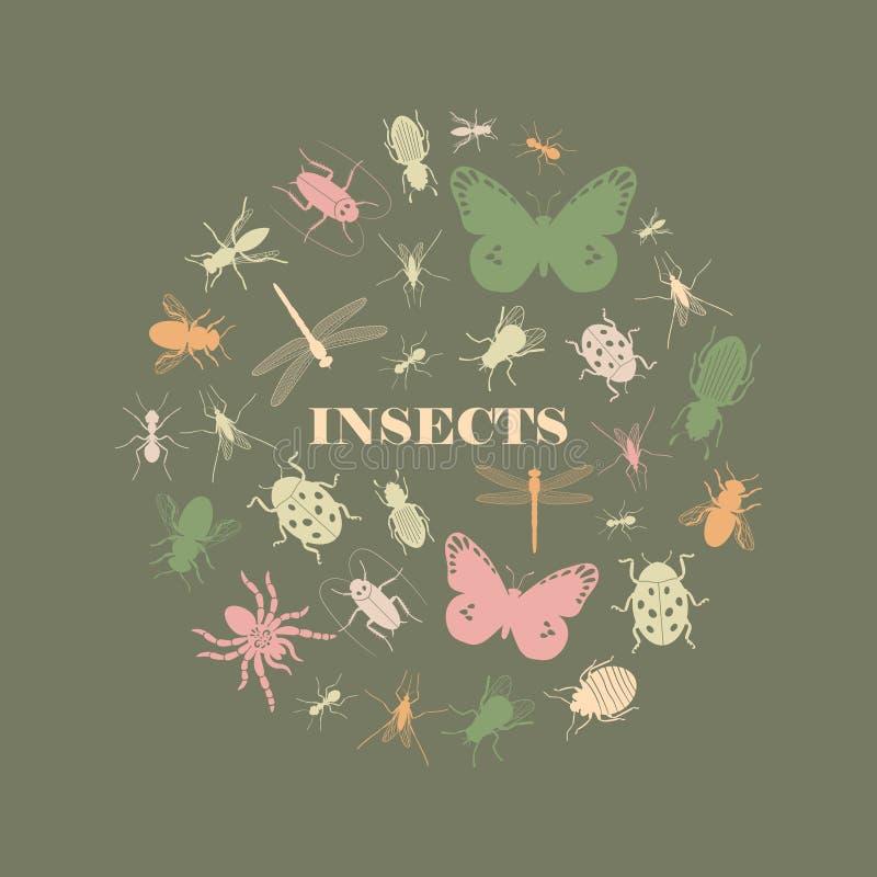 Forma rotonda delle icone d'annata dell'insetto royalty illustrazione gratis