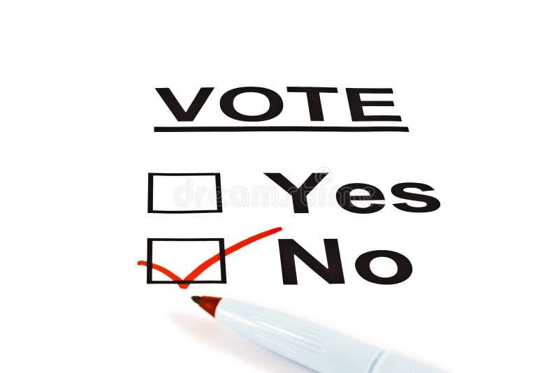 Forma sí/no de la balota del voto sin controlado foto de archivo