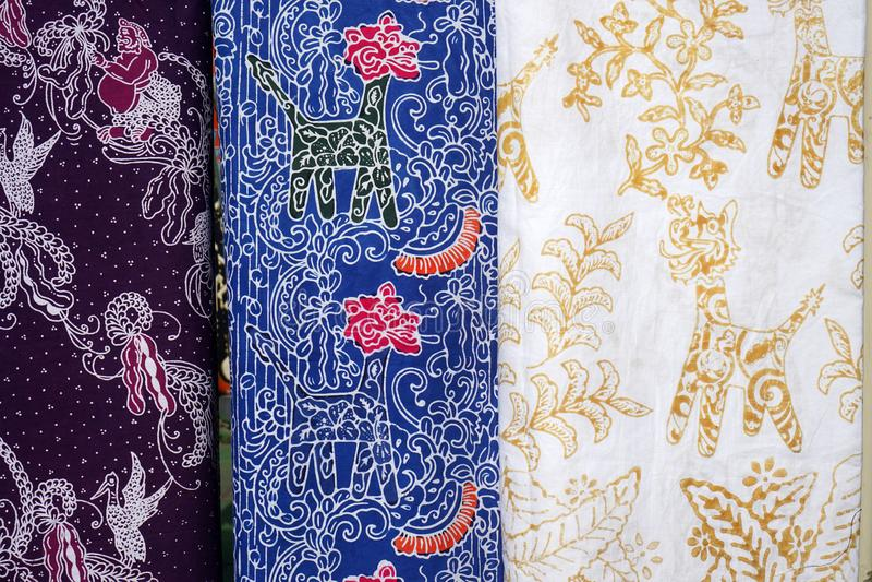 Forma Semarang, Indonesia del modelo de la tela del batik imagenes de archivo