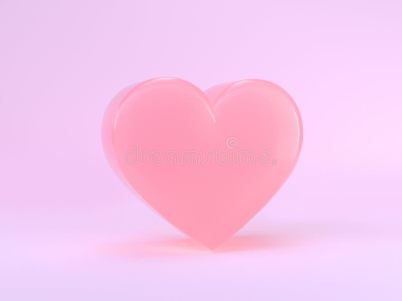 Forma semi lustrosa mínima colorida pastel 3d do coração do rosa da cena que rende o conceito do Valentim do romance do amor ilustração royalty free