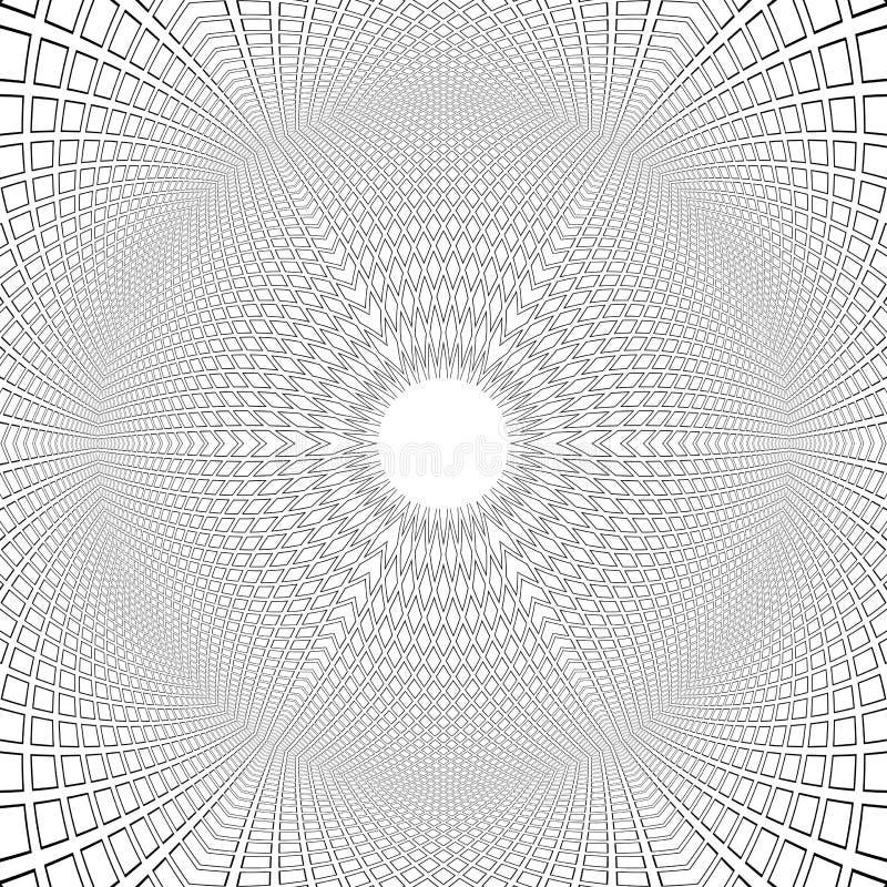 Forma sferica illusione 3D Reticolo convesso Fondo architettonico di arte op royalty illustrazione gratis