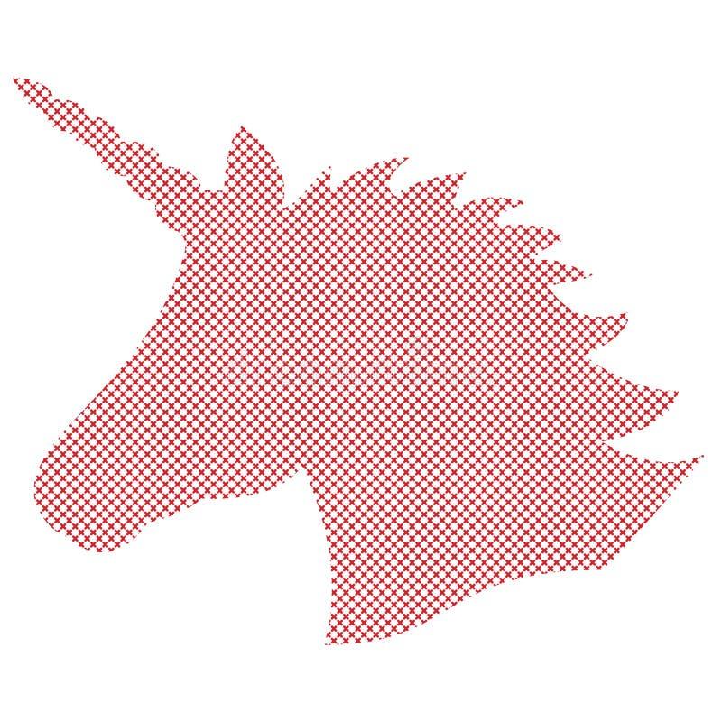 Forma simple, silueta del unicornio mágico en puntada nórdica de la cruz del estilo e inspirado por los modelos escandinavos de l ilustración del vector