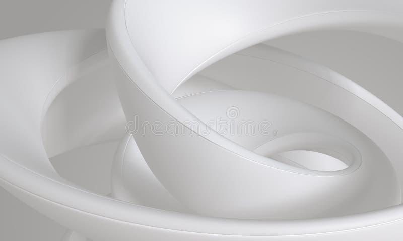 Forma sottile di turbinio fluido latteo grigio bianco - concetto astratto del fondo illustrazione vettoriale