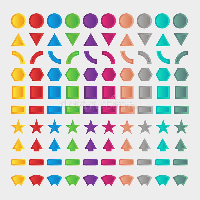 100 forma stabilita, distintivo, elementi nello stile 3d Oggetto isolato illustrazione di stock