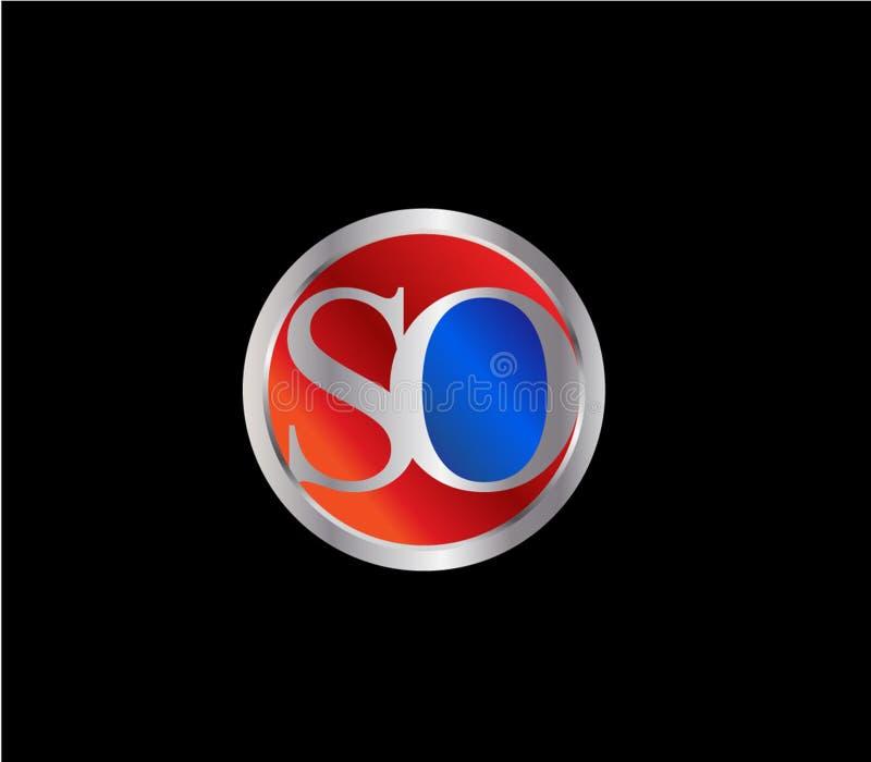 Forma TAN inicial Logo Design posterior color plata azul rojo del círculo ilustración del vector